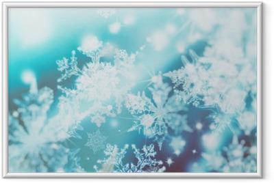 Plakat w ramie Migające światła rozmycie spot na abstrakcyjnym tle. Wzór płatków śniegu