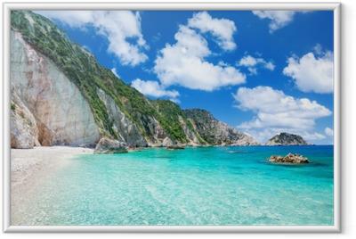 Gerahmtes Poster Petani Strand, Kefalonia, Griechenland