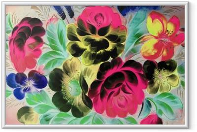 Póster Enmarcado Pintura al óleo, estilo del impresionismo, pintura de la textura, pintura de la naturaleza muerta de la flor imagen pintada del color del arte,