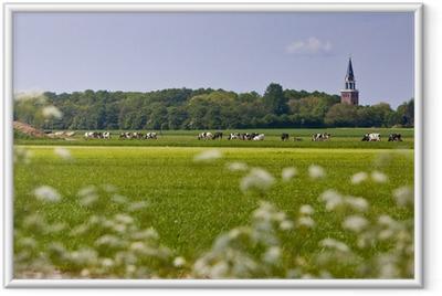 Ingelijste Poster Landschap met kerk en koeien
