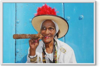 Plakat w ramie Lady cygar w Hawanie na Kubie