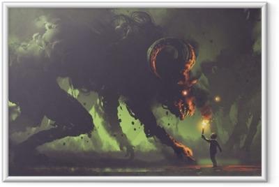 Gerahmtes Poster Dunkles Fantasiekonzept, das den Jungen mit einer Fackel zeigt, die Rauchmonstern mit Hörnern des Dämons, digitale Kunstart, Illustrationsmalerei gegenüberstellt