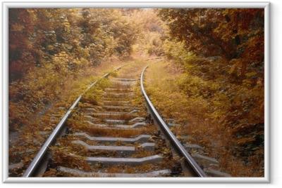 Jernbane spor i efteråret Indrammet plakat