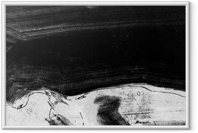 Mustavalkoinen käsinmaalattu taustakuvio grunge harjasleikkauksilla Kehystetty juliste