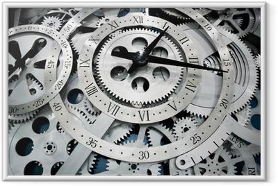 Gerahmtes Poster Uhr und Getriebe