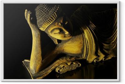 Gerahmtes Poster Teak Holz liegenden Buddha auf schwarzem