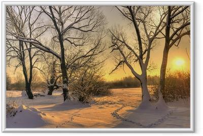 Smuk vinter solnedgang med træer i sneen Indrammet plakat