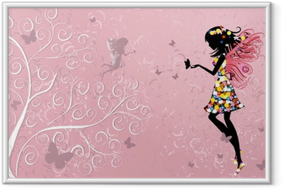 Flower Fairy near patterned wood Framed Poster