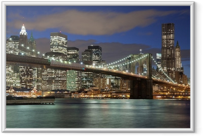 Poster en cadre New York City skyline-Brooklyn Bridge