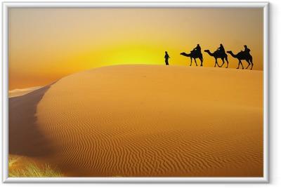 Gerahmtes Poster Reisen mit dem Kamel