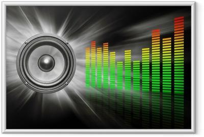 audio speaker & equalizer on black Framed Poster