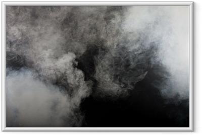Hvid røg på sort baggrund. Isoleret. Indrammet plakat