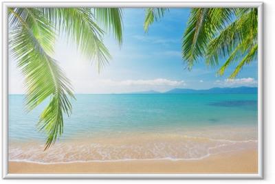 Plakat w ramie Palmy i tropikalna plaża