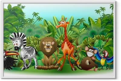 Ingelijste Poster Animali Selvaggi Cartoon Giungla-Wilde dieren Achtergrond-Vector