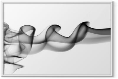 Poster in Cornice Onde astratte fumi neri su fondo bianco
