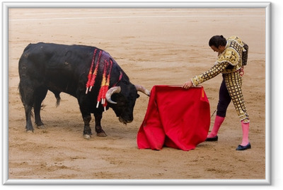 Póster com Moldura Bullfight in Barcelona