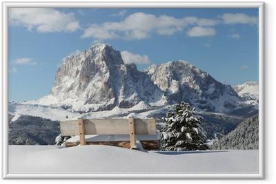 Langkofel Berg der Dolomiten Indrammet plakat