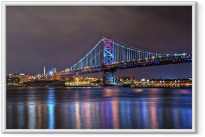 Benjamin Franklin Bridge at Night Framed Poster
