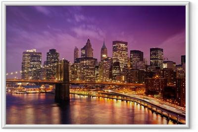 Ingelijste Poster Brooklyn Bridge met uitzicht op Manhattan