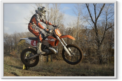 A jump rider on a motorcycle motocross Framed Poster