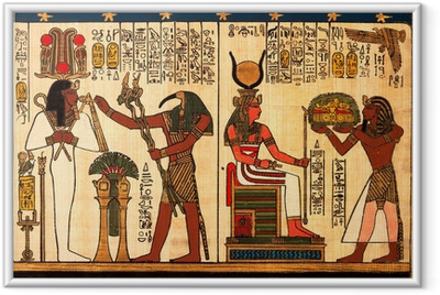 Egyptian papyrus with antique hieroglyphs Framed Poster