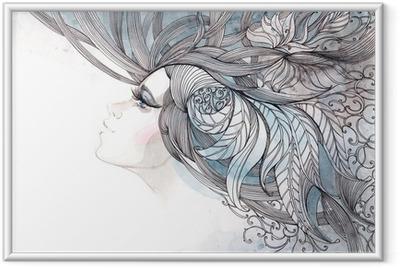 Plakat w ramie Włosy ozdobną z liści