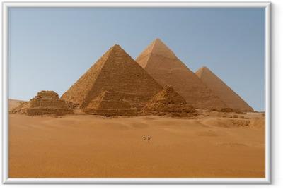 Panaromisk udsigt over seks egyptiske pyramider i Giza, Egypten Indrammet plakat