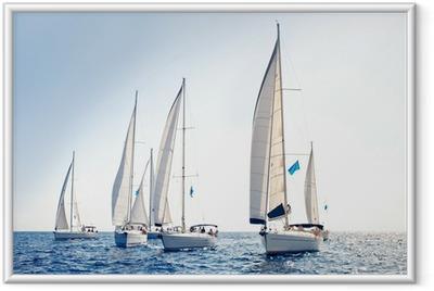 Ingelijste Poster Zeilschip jachten met witte zeilen