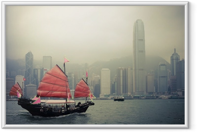 Ingelijste Poster Chinese stijl zeilboot in Hongkong