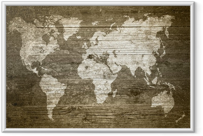 Poster en cadre Grunge Bois - Carte du monde