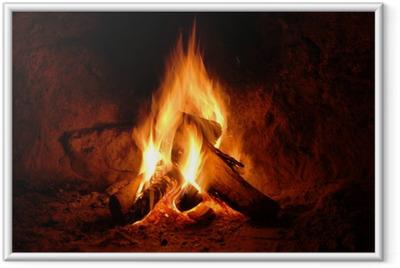 Feuer, Kaminfeuer, Flammen, Framed Poster