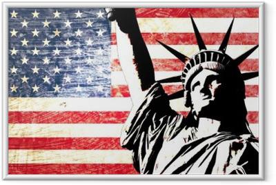 Ingelijste Poster Usa vlag standbeeld van vrijheid