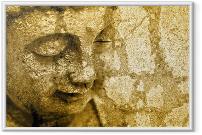 Grunge Buddha Background - Sepia Fx Framed Poster