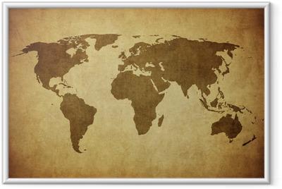 Gerahmtes Poster Vintage Karte der Welt