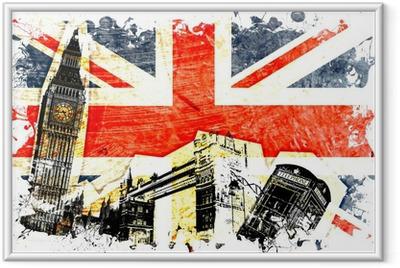 Poster en cadre Drapeau anglais decoupe