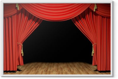 Gerahmtes Poster Red Stage Theater Samtvorhänge