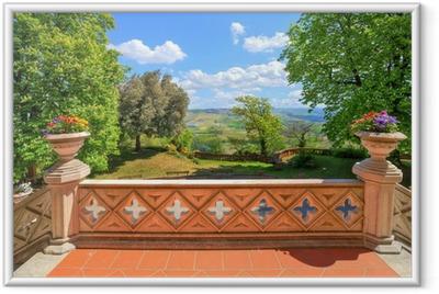 Ingelijste Poster Uitzicht vanaf het kasteel terras. Novello, Noord-Italië.