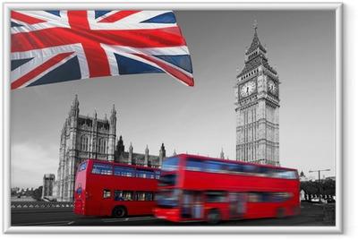 Poster en cadre Big Ben avec bus de la ville et le drapeau de l'Angleterre, Londres
