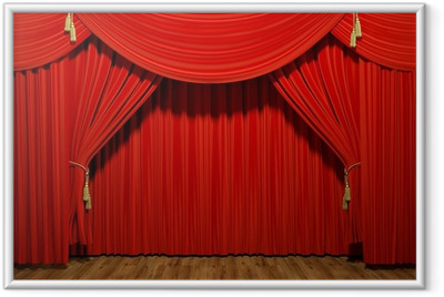 Red stage theater velvet drapes Framed Poster