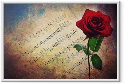 Póster com Moldura Antique musical score with red rose