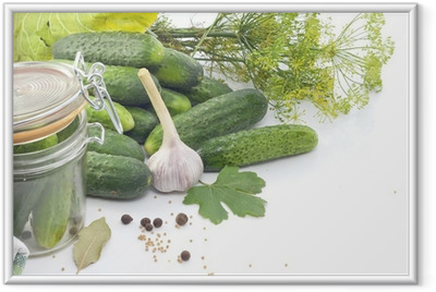 Pickled cucumbers with dill garlic and spices Framed Poster
