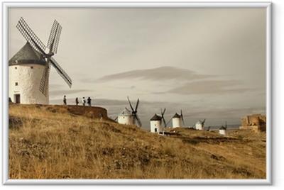 Ingelijste Poster Spaanse windmolens - Consuegra