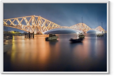 The Forth Road Bridge by night Framed Poster