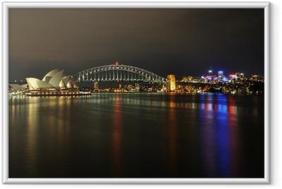 Ingelijste Poster Sydney Harbour 's nachts