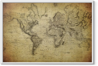 vintage map of the world 1814.. Framed Poster
