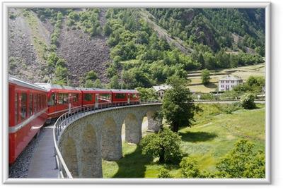 Gerahmtes Poster Swiss Bergbahn Bernina Express