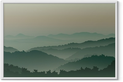 Poster i Ram Gröna berg i dimma