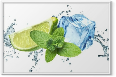 Ice cubes, mint leaves, water splash and lime on a white Framed Poster