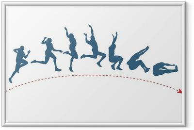 Long jump trajectory Framed Poster