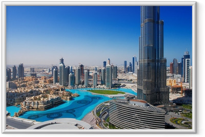 Póster com Moldura Downtown Dubai is a popular place for shopping and sightseeing